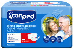 Canped - Canped Belbantlı Tekstil Yüzeyli Hasta Bezi Büyük Boy (L) - 30 Adet