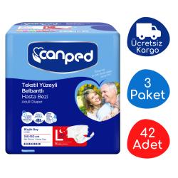Canped - Canped Belbantlı Tekstil Yüzeyli Hasta Bezi Gece (L) - 42 Adet