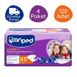 Canped - Canped Belbantlı Tekstil Yüzeyli Hasta Bezi Ekstra Küçük (XS) - 120 Adet
