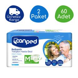 Canped - Canped Belbantlı Polietilen Yetişkin Hasta Bezi Orta (M) - 60 Adet