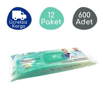 Haspet Antibakteriyel Perine Bölge Temizleme Havlusu Kapaklı 30x32cm (12 Paket - 600 Adet)