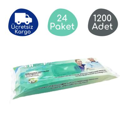 Haspet Antibakteriyel Perine Bölge Temizleme Havlusu Kapaklı 30x32cm (24 Paket - 1200 Adet)